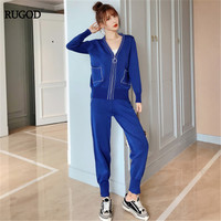 RUGOD 2 Piece Pans Set Women V neck Long Sleeve Solid Top With A Bandage Elastic Hight Waist Pants Casual Lady Knitted Set2019