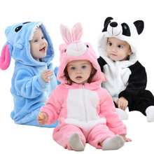 Cute Cartoon Flannel Baby Rompers Stitch Rabbit Panda Pajama