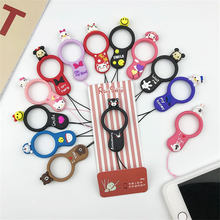 Cute cartoon phone strap Silicone Pendant Mobile Phone Straps Duck Hello kitty ring moblie for iphone 6 7 8 xiaomi