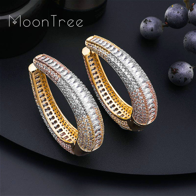 MoonTree Big Earrings Big Wide Circle Full Micro Cubic 3Tone Color Copper Pave Setting Ladies  Earrings Jewelry  Bijoux