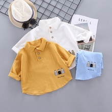 60-6T New Autumn Baby Boys Girls Blouse Long Sleeve Cartoon Print Clothes Kids Tops Tees Blouse Casual Blouse calico print poncho blouse