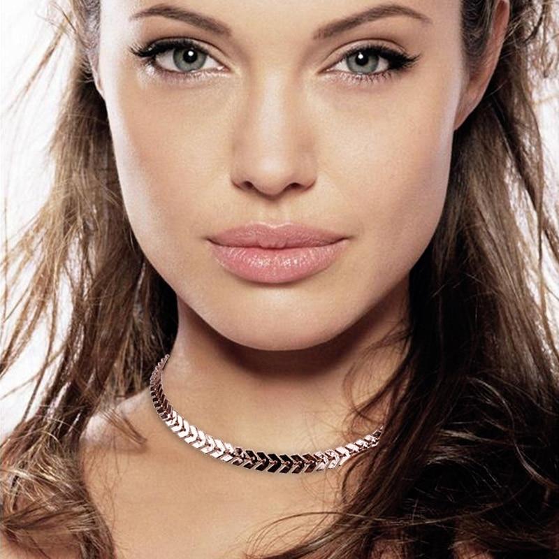 Fishbone avião forma folhas corrente lantejoulas gargantilha colares para mulheres bohemia estilo jóias festa melhor presente atacado