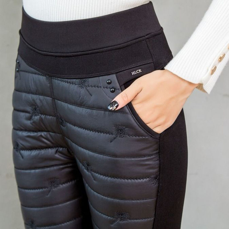 Winter Embroidery Trousers Women Fashion Down Cotton Warm Velvet Pants Mom Snow Wear Thick Straight Pants Large Size Sweatpants