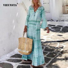 2021 Women Vintage Boho Print Long Dress Elegant Flare Sleeve Geometric Pattern Party Dress Sexy Spring Summer V Neck Maxi Dress