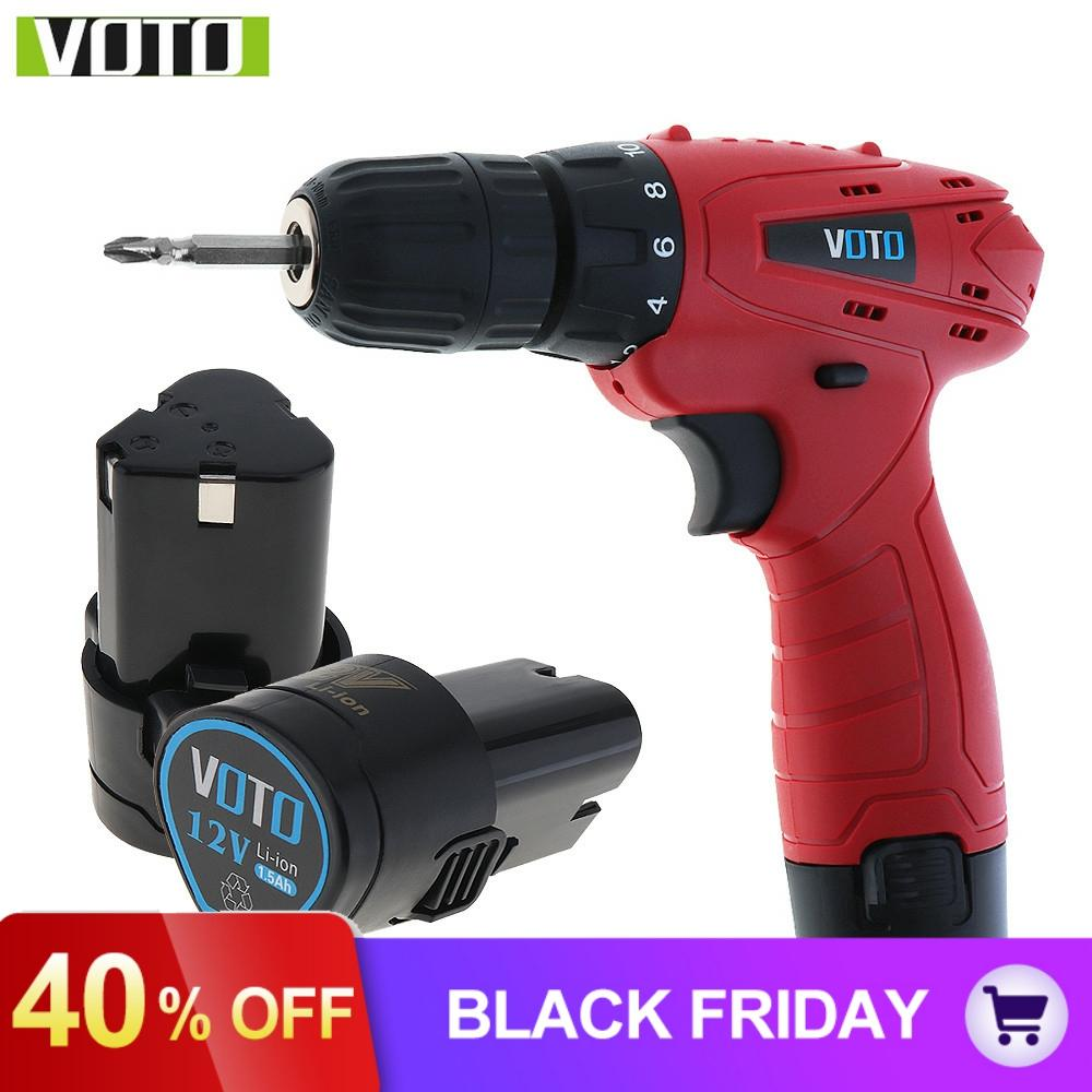 VOTO 12V Cordless Electric Screwdriver Household Power Tools with Lithium Battery Speed Adjustment for Handling Screws Drilling