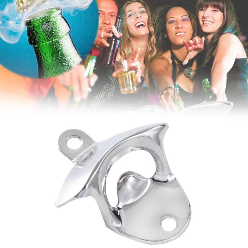 1pc Wine Beer Bottle Opener Silver Alloy Wall Fixed Wall Mounted Wall Refrigerator Stickers Kitchen Tools Home Bar Decor