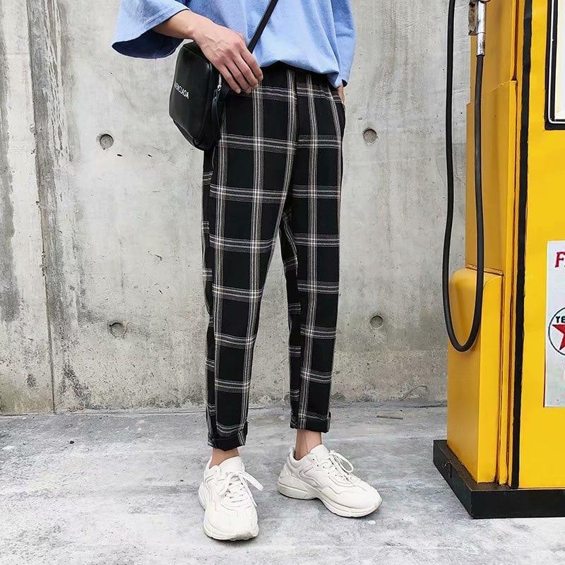 K121 Hong Kong Style Plaid Capri Casual Pants Men Versatile Skinny Pants Korean-style Fashion Man Pants Teenager Students