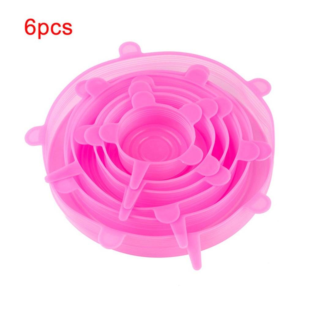Kitchen Silicone Stretch Lids Silicone Durable Food Saver Covers Stretchable Silicone Food Saver Mixing Bowls Covers 6 Pieces