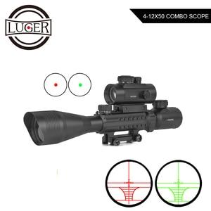 4-12x50 Hunting Scope Red Green Illuminated Optics Rifle Scope +1X40 RDL Red Green Dot With Laser Sight Combo Gun Rilfescope