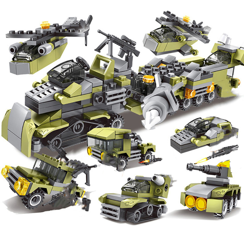 296Pcs 6in1 Military Swat Soldier with Army Weapons Building Blocks For Birthday Present Educational Toys For Children E in Model Building Kits from Toys Hobbies