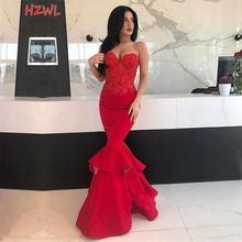 Красное Кружевное Платье Русалка для выпускного вечера с аппликацией