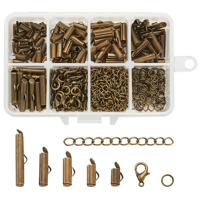 1Box Iron Twist Extender Chains Link Connector With Zinc Alloy Lobster Claw Clasps ,Brass Slide On End Clasp Tubes Accessories