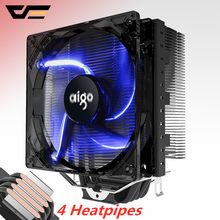 Aigo 120mm 4pin CPU fan CPU Kühler 4 Heatpipes CPU Kühler Kühler für AMD Intel 775/115/ AM3/AM4 Blau LED Stille CPU lüfter(China)