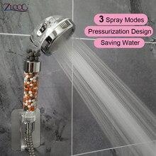 Zloog chuveiro do banheiro 3 modos ajustável jetting cabeça de chuveiro poupança água alta pressão filtro anion chuveiro spa bico