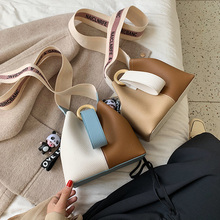 casual panelled buckets bag designer wood women handbags luxury pu leather shoulder crossbody large capacity tote lady purse