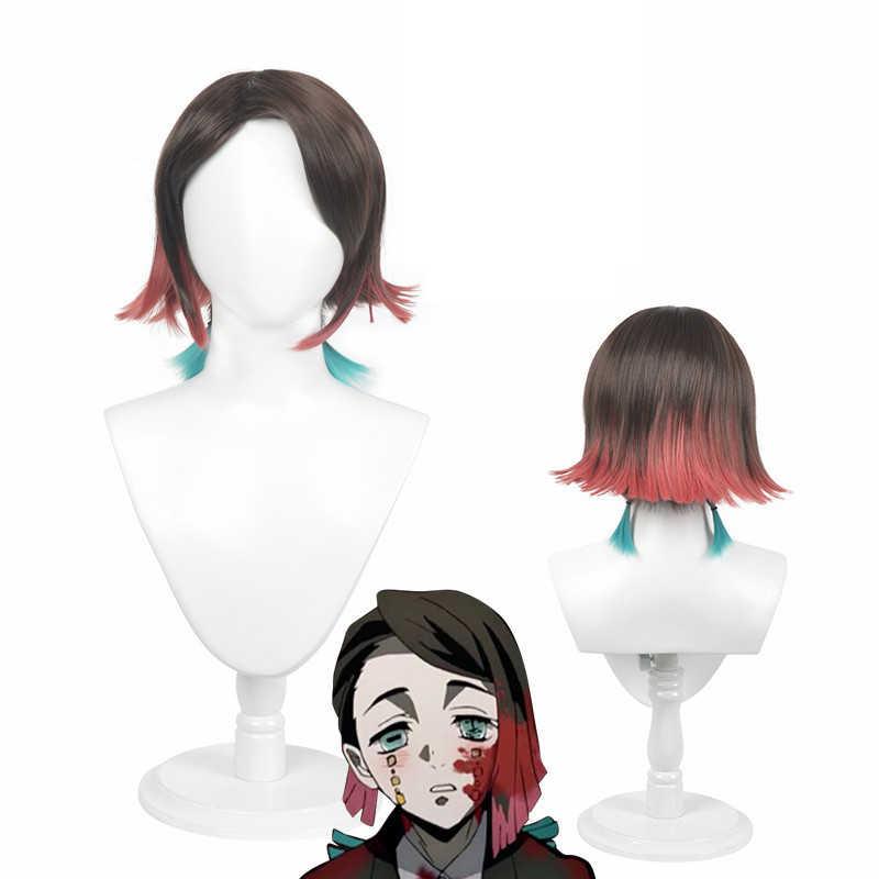 Anime Demon Slayer Kimetsu no Yaiba Enmu Cosplay traje uniforme conjunto peluca tatuaje gradiente corto de pelo de rampa