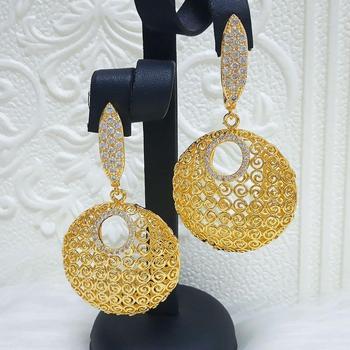 Pendientes de gotas de circonita cúbica de moda para novia para fiesta de casamiento dorado indio pendientes colgantes para mujer joyería Mirafeel