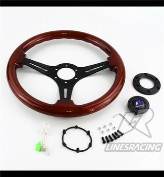 "LR Universal 14"" 350mm Wood Grain Steering Wheel 6 Bolts 1.75"" Dish 3-Spoke Wood"