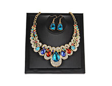 Luxury Wedding Bridal Jewelry Sets for Brides Women Water Drop Colorful Crystal Necklace Earrings Gold Metal Fashion Bijoux Gift(China)