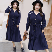 Fatty big yards couture autumn collection of navy collar dress institute wind pleated teamed British girl uniforms
