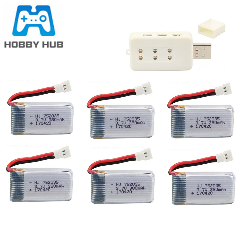 3.7V 380mAh 20c 752035 Lipo Battery +USB Charger Set For Hubsan X4 H107 H107L H107D JD385 JD388 RC Drone Spare Parts