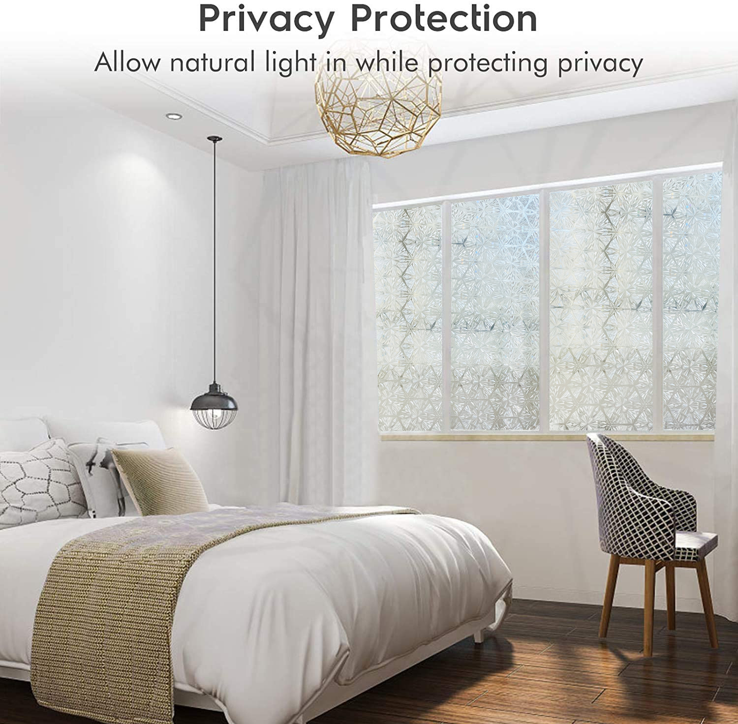Privacy Stained Window Film Non-Adhesive Frosted Decorative Glass Film Static Cling Rainbow Window Stickers for Home 5