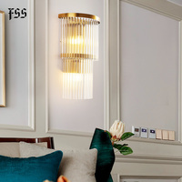 FSS Luxury Glass Rod Modern Gold Bedside Wall Sconce Lamp Crystal Wall Light Fixtures Bedside Living Room LED Wall Lamp Bedroom