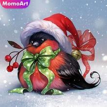 MomoArt Diamond Painting Bird Winter Mosaic Full Square Drill Picture Of Rhinestone Embroidery Cartoon