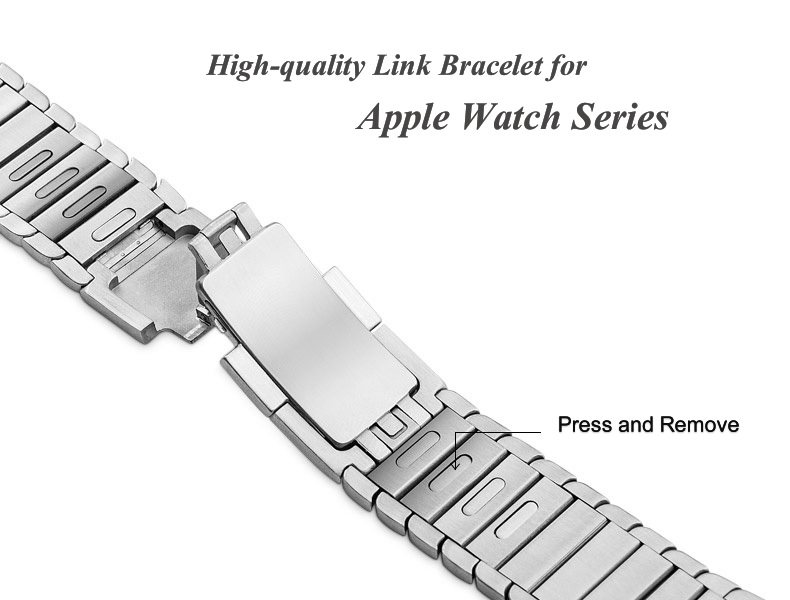 Stainless Steel Strap 38mm <font><b>42mm</b></font> for <font><b>Apple</b></font> <font><b>Watch</b></font> 1 2 <font><b>3</b></font> <font><b>Watch</b></font> band Link Bracelet Band for <font><b>Apple</b></font> <font><b>Watch</b></font> 4 5 40mm 44mm Smartwatch image
