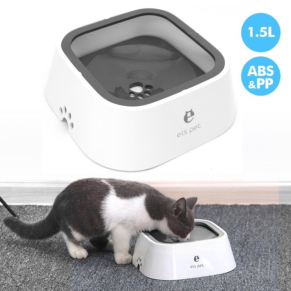 1.5L Pet Dog miska dla kotów przenośna antypoślizgowa miska dla kotów s bez rozlewania Pet podajnik wody dozownik dla psów koty picie pływająca fontanna