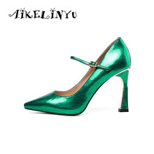 AIKELINYU Fashion Spring Square Toes Lady Pump Solid Cowhide Leather Wedding Party Career Shoes Sexy Green High Heels