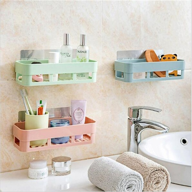 4 Colors Bathroom Organizer Stick-up Wall Sucker Plastic Organizer Net Box Organizer Bathroom Bathroom Shelf Organizador Baño