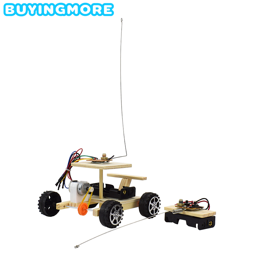 DIY Car Model Kit Two-channel Remote Control Racing Wooden Toys Dyi Manual Assembly Science Toys For Boys Educational Creative