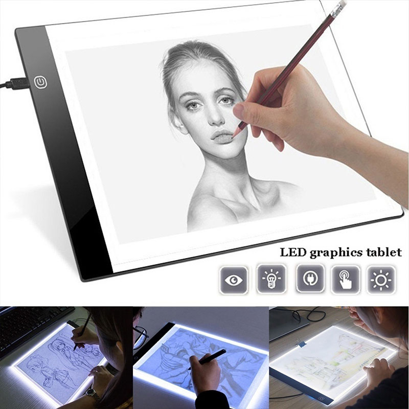 LED Drawing Tablet A4 A5 Dimmable Digital Graphics Pad With USB Cable, Art Stencil Graphic Painting Writing Table Copy Board