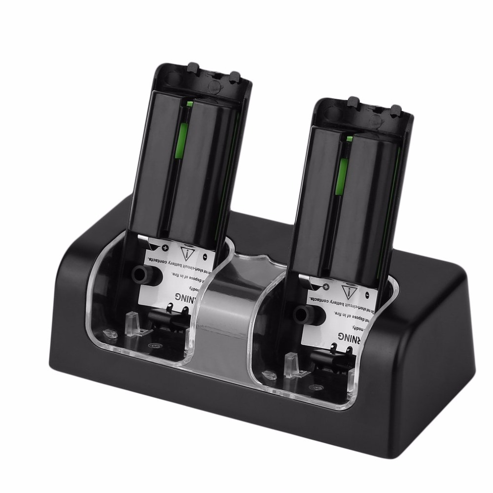 Black & White High Capacity 2x 2800mAh Rechargeable Battery Pack With Dual Charger Dock Stand Station For Wii Remote Control