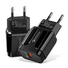 Carregador do telefone móvel carga rápida qc 3.0 4.0 18w carregamento rápido ue eua plug adaptador de parede usb carregador para iphone samsung xiaomi