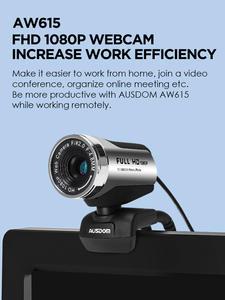 Ausdom 1080P Webcam Microphone Computer-Camera Laptop Live-Broadcast Video-Conference-Work