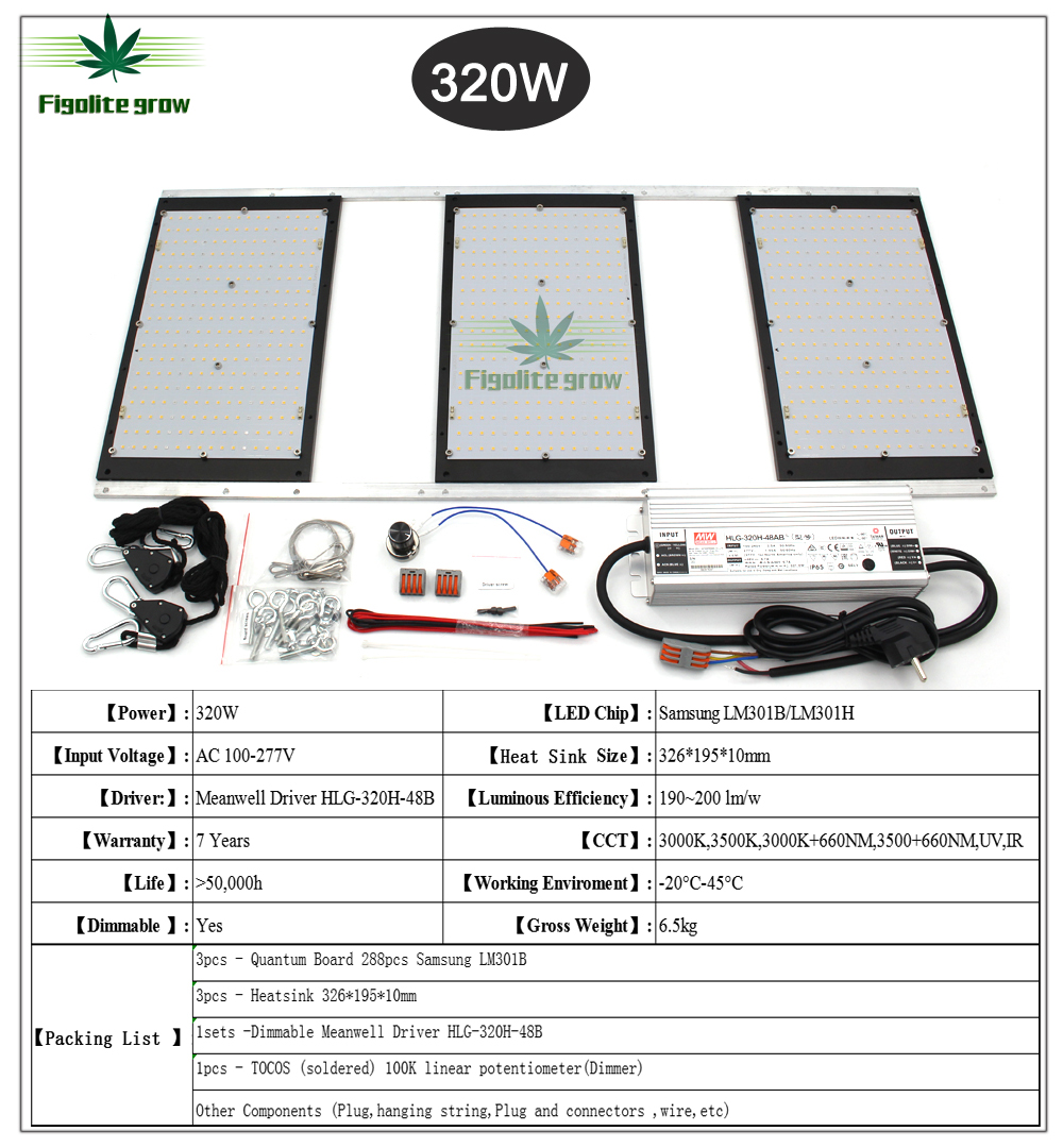 2020 Latest Samsung LM301B/LM301H Dimmable HLG 320W Led Light Board DIY Grow Light For Greenhouse