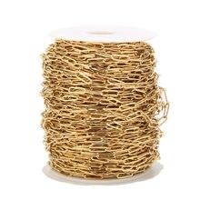 1 metr ze stali nierdzewnej 4mm x 12mm złoty płaski ciągniony łańcuch kablowy dla DIY biżuteria łańcuszki dodatki
