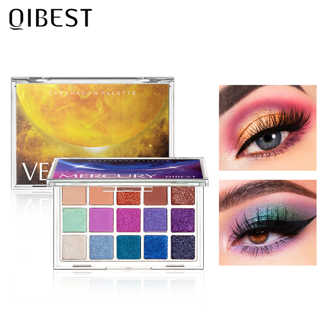 QIBEST Glitter Eyeshadow Palette 15 Colors Planet Holographic Pigment Matte Shimmer Eye Shadow Powder Shiny Eye Makeup Pallete 3
