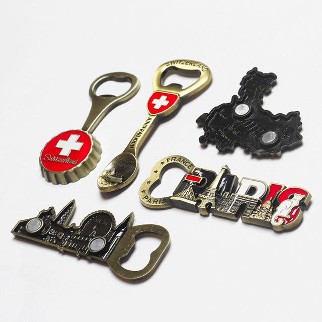 Tourist souvenir Switzerland Italy refrigerator magnet beer opener Europe Britain France Germany travel souvenir home decoration 5