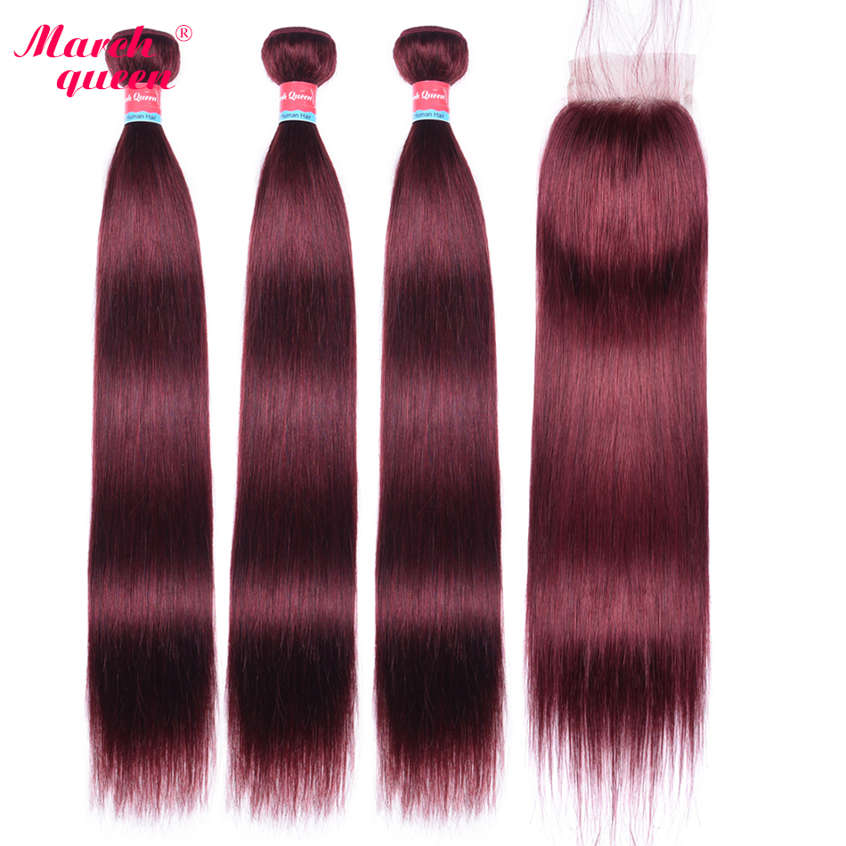March Queen Pre-Colored #99J Vietnamese Straight Hair 3 Bundles With Closure Red Wine Human Hair Weave With 4x4 Lace Closure