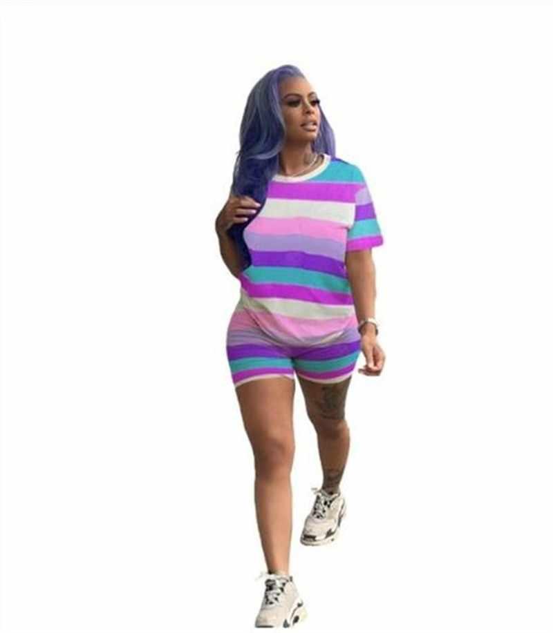 편지 인쇄 여성 짧은 두 조각 세트 탑 반바지 세트 여름 Tracksuit Streetwear 땀 정장 여성 캐주얼 2 조각 의상 세트