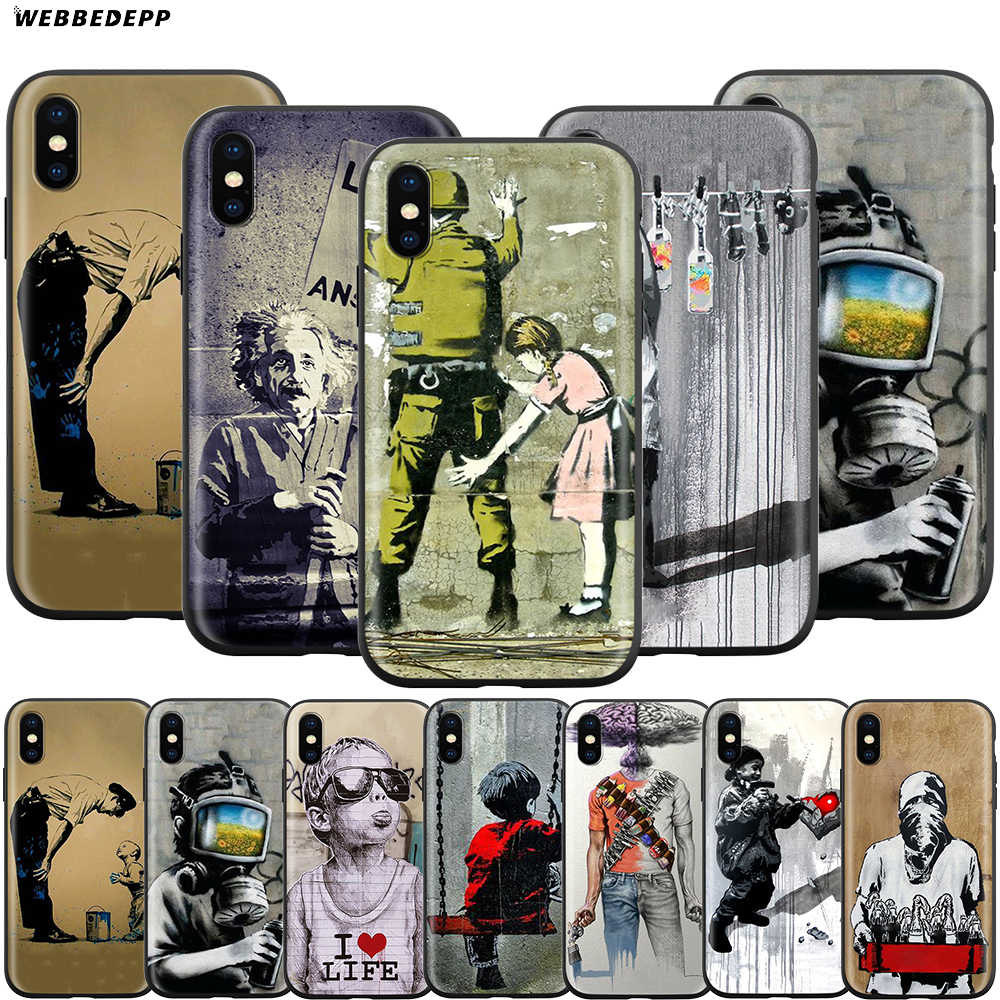 Webbedepp Street Art Banksy Graffiti สำหรับ Apple iPhone 11 Pro XS MAX XR X 8 7 6 6S plus 5 5S SE