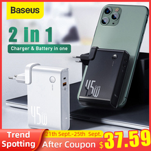 Baseus GaN Power Bank Charger 10000mAh 45W USB C PD Fast Charging 2 in 1 Charger & Battery in one ForiP 11 Pro Laptop ForXiaomi