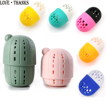 New Soft Silicone Makeup Sponge Puff Drying Holder Storage Box Cactus Shape  Exclusive Makeup Sponge Puff Display Rack Case 2 pcs makeup sponge holder drying stand