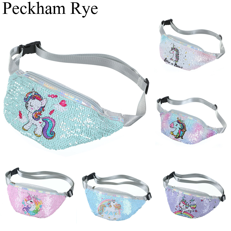 Cartoon Unicorn Waist Bag For Women/girl Sequins Print Fashion Pink Fanny Pack Children's Shoulder Belt Bags Kids Phone Pouch