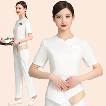 Dress suit for high-end cosmetologist, stylish woman in summer. Short sleeves for shop assistant at hotel reception counter