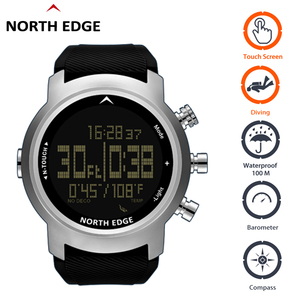 Image 1 - Digital Watches Waterproof 100M North Edge Touch Watch Diving Barometer Compass Bracelet Altimeter Clocks Diving Watch Men Sport