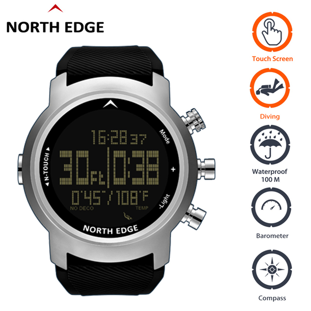Digital Watches Waterproof 100M North Edge Touch Watch Diving Barometer Compass Bracelet Altimeter Clocks Diving Watch Men Sport